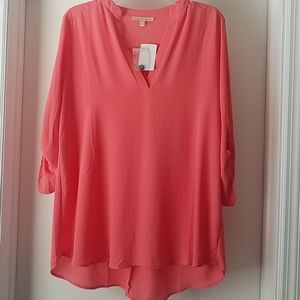 Coral Gibson Latimer V-neck Top...nwt